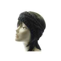 Black Wide Cable Knit Headband