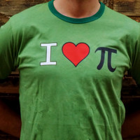 I Love Pi Shirt. Math Geek Shirt. Customize By Size And Color.