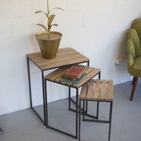 Set of 3 Metal Nesting Tables with Slatted Wood Tops
