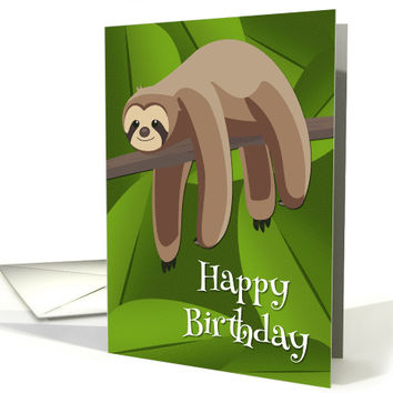 Lazy Sloth in the Jungle for Birthday card