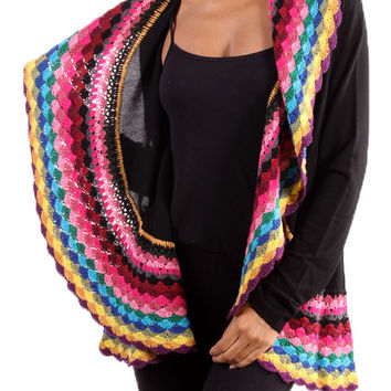 Multi Color Black Crochet Cardigan from The Texas Cowgirl | Epic