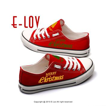 E-LOV Red Casual Canvas Shoes Custom Christmas Canvas Shoes For Men Boys Merry Christmas Gifts