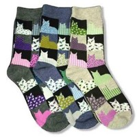 Calico Cats 3 Pack Kitty Socks Grey Blue Tan