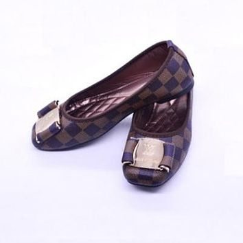Louis Vuitton LV Slip-On Women Fashion Leather Flats Shoes