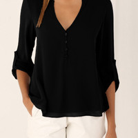 Black V-neck Button Detail Blouse