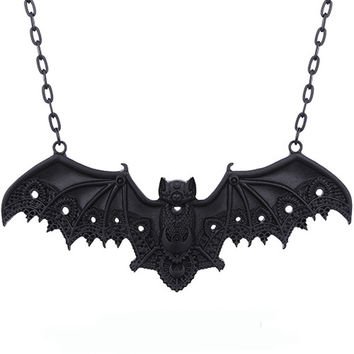 Black Lace Vampire Bat Wings Pendant Necklace
