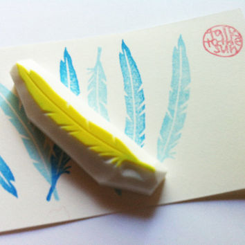 bird feather stamp. feather hand carved rubber stamp. diy wedding/birthday. gift wrapping.