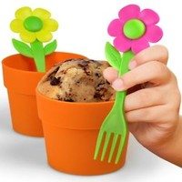 Fred & Friends Neat Eats 2 Pc. Flower Pot Cupcake Baking Cup Mold & Flower Forks
