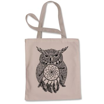 Black Owl Dreamcatcher Shopping Tote Bag