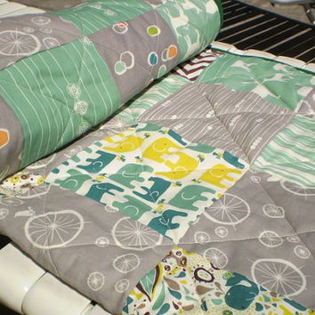 Modern baby quilt,Organic Baby Quilt-Rustic,woodland,baby boy or girl quilt,patch crib bedding,Birch fabrics,elephant,deer,grey,green,yellow