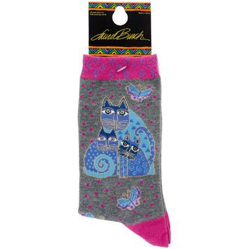 Laurel Burch Socks-Indigo Cats - Pink