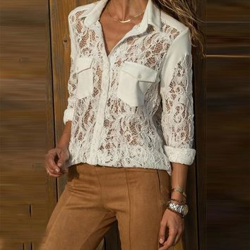 New White Patchwork Lace Pockets Irregular Single Breasted Turndown Collar Long Sleeve Casual Blouse