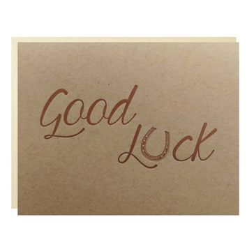 Good Luck Letterpress Greeting Card in Copper on Kraft Paper