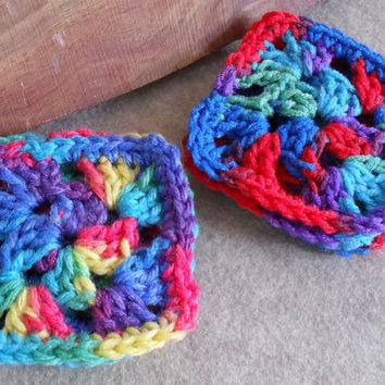 DIY 6 Rainbow Crochet Granny Squares (make your own project)