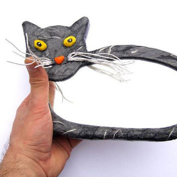Decorative wall mirror,Grey cat mirror with yellow eyes and movable white rope whiskers,WALL hanging,oval small mirror,cat lover decoration