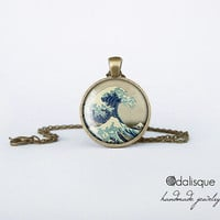 The Great Wave off Kanagawa Glass Pendant Bronze Hokusai Art Painting Round Circle Necklace Jewelry Birthday Gift 1 inch