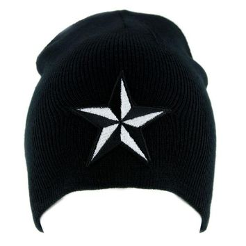 ac spbest White Nautical Star Beanie Alternative Clothing Knit Cap Rockabilly Tattoo Ink