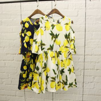 Summer Stylish Fruit Pattern Printed Dress