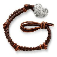 Mocha Woven Leather Bracelet with Textured Heart Clasp: James Avery