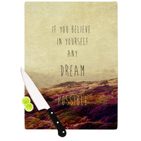 "Ingrid Beddoes ""Believe"" Desert Quote Cutting Board"