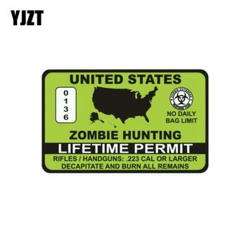 YJZT 14.7CM*9.1CM ZOMBIE HUNTER PERMIR HOT Lime Greenl The Tail Of The Car Decal Sticker Reflective Motorcycle Parts C1-7367
