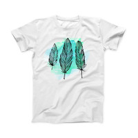 The Pen & Watercolor Feathers ink-Fuzed Front Spot Graphic Unisex Soft-Fitted Tee Shirt