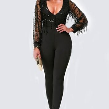 Black Patchwork Grenadine Sequin Deep V-neck High Waisted Club Party Long Jumpsuit