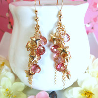 Gold star cluster pink mystic quartz cluster tassle earrings, gold pink quartz starry night cluster earrings
