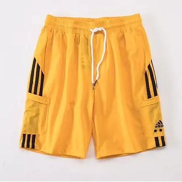 Adidas Popular Women Men Retro Embroidery Color Matching Sport Shorts Yellow I13418-1