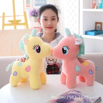 Super soft feather cotton unicorn doll soft color pony soft toy Stuffed toys high quality birthday gift