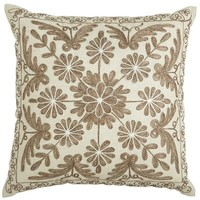 Neutral Embroidered Medallion Pillow