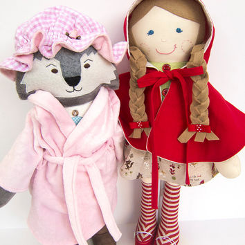 Little Red Riding Hood Big Bad Wolf Cloth Doll Rag Doll Ready to Ship