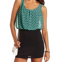 CHEVRON 2-FER BODY-CON DRESS