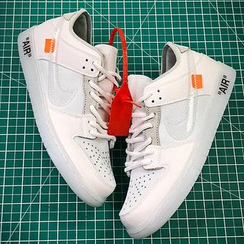 Off White X Nike Sb Dunk Low White Sport Running Shoes - Best Online Sale