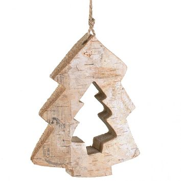 "Carved Birch Tree Cutout Ornament 4.5"" H"