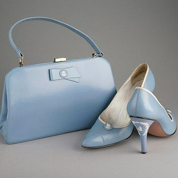 165: A pair of Rayne `Wedgwood' blue shoes and bag, 195