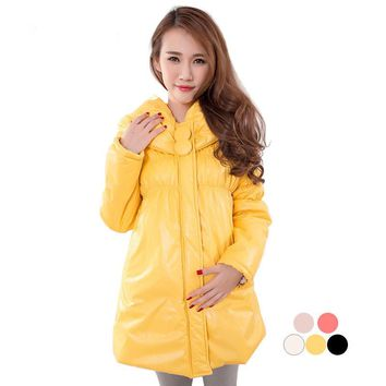 Winter Maternity Thermal Coat Jacket thickening wadded big button plus size pregnant cotton-padded 1609,highly recommand quality