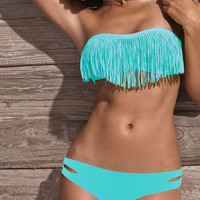Blue Tassel Bikini Swimsuit set