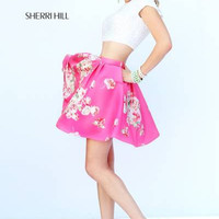 Sherri Hill 32251 Short Crop Top Beaded Floral Prom Dress