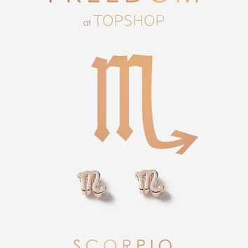 Scorpio Symbol Stud Earrings