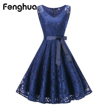 Fenghua Mini Lace Dress Women Belted Ball Gown Party Dress Sleeveless V-Neck Dresses Casual Slim Vestido Elegant Clothes