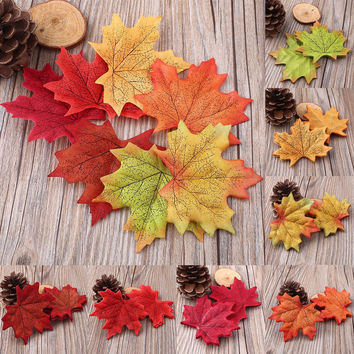 Plastic Fall Leaves Cut Outs For Table Decor Or Handicrafts