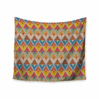 "julia grifol ""Small Diamonds"" Brown Gray Pattern Geometric Vector Digital Wall Tapestry"