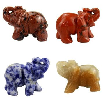 2inch Crystal Elephant Statue Craft Carved Natural Stone Elephant Figurine Jade Mini  Animals Figurines for Decor Chakra Healing