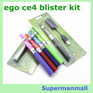 eGO CE4 Blister kits  Electronic Cigarette 650mah 900mah 1100mah battery with CE4 atomizer  and charger