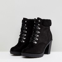 New Look Wide Fit Heeled Hiker Boot at asos.com