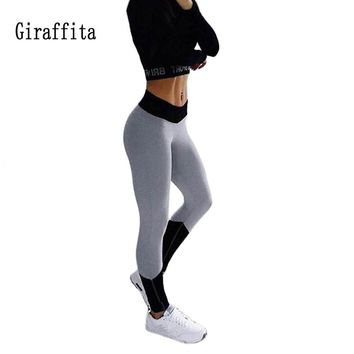 Giraffita Sport Leggings For Female High Waist Patchwork Fitness Pants Legging Workout Activity Leggings Sport Pants