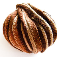 Earthy  Ruffle/Frilly Yarn for Scarf Brown Shades by Mashacrochet