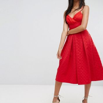 ASOS Scuba Quilted Prom Midi Dress with Gathered Bodice at asos.com