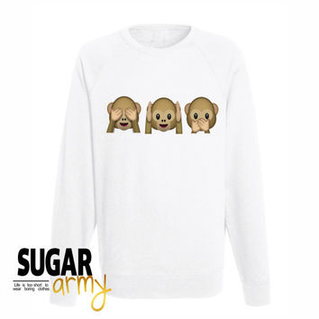 Emoji monkey sweatshirt, hear no evil speak no evil see no evil sweatshirt, emoji sweatshirt, sweatshirt for teens, tumblr sweatshirt